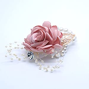 Abbie Home Decent Wrist Corsage for Prom Party Wedding Ball Event Silk Rose Rhinestone Hand Flower Classic Pearl Bracelet 2