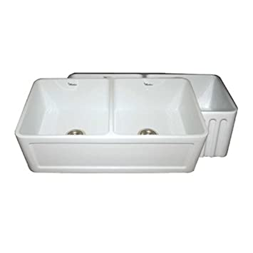 Whitehaus WHFLCON3318 WH Farmhaus 33 Inch Reversible Series Double Bowl  Fireclay Apron Front Sink