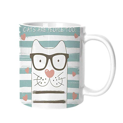(Animal Decor Fashion Coffee Cup,Hipster Cartoon Cat with Glasses Hearts and Stripes and Quotation Art For office,One size)