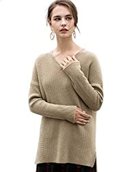 Fincati 100 Goat Cashmere Sweater Women Pullovers Soft Cozy Warm Autumn Winter V Neck Thicken Sweaters Sales A Camel M
