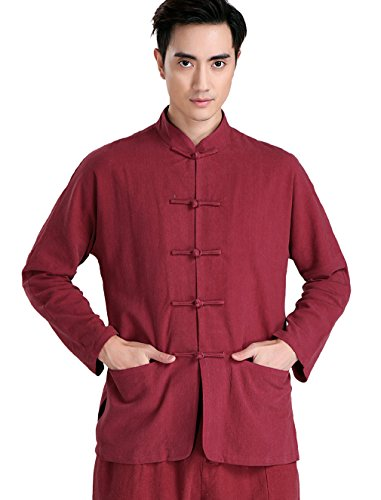 ACVIP Men Long Sleeves Tai Chi Kung Fu Jackets Tops (China L/US S, Red) by ACVIP