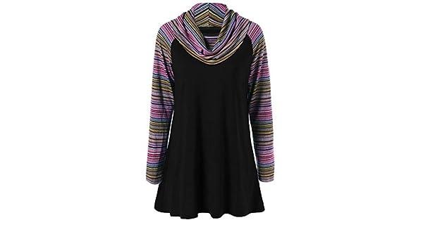 Luckycat Mujeres Camisas de Cuello Alto Camisetas a Cuadros túnica Manga Larga Sudadera suéter: Amazon.es: Ropa y accesorios