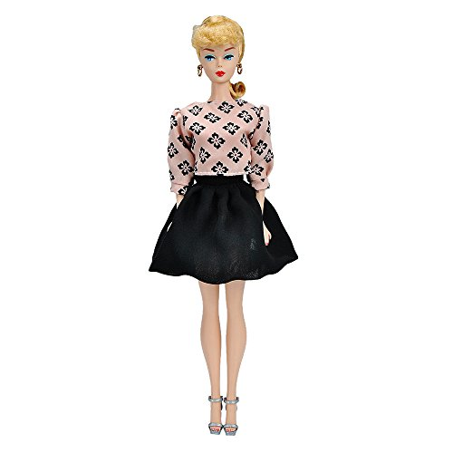 E-TING Handmade Fashion Doll Clothes Pink Chiffon Shirt + Black Mini Short Skirt Office Style Wears Dress For Barbie Dolls Barbie Vintage Shorts