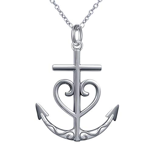 S925 Sterling Silver Oxidized Faith Hope Love Heart Cross Anchor Vintage Pendant Necklace for Women 20