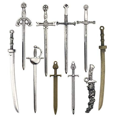 Youdiyla 10 PCS Sword Katana Dagger Charms Collection, Mix Samurai Ananta Tachi Knife Stiletto Fencing Metal Pendant Supplies Findings for Jewelry Making (HM150) ()