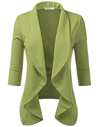 CLOVERY Women's 3/4 Sleeve Open Front Lightweight Work Office Blazer Jacket SAGE S Plus Size