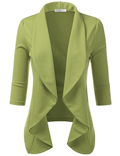 CLOVERY Women's 3/4 Sleeve Ruffle Design Cropped Bolero Shrug Open Front Cardigan SAGE 1X Plus Size
