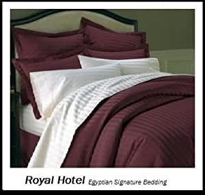 Royal 39 s striped burgundy 800 thread count 3pc queen duvet for Hotel design 800 thread count comforter