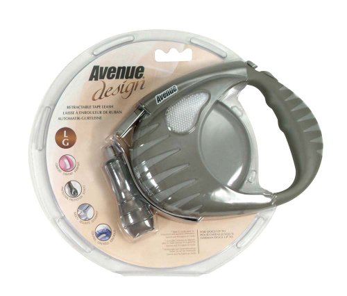 Avenue Design Retractable Tape Leash for Dogs, Gray, Large, 16 Feet, My Pet Supplies