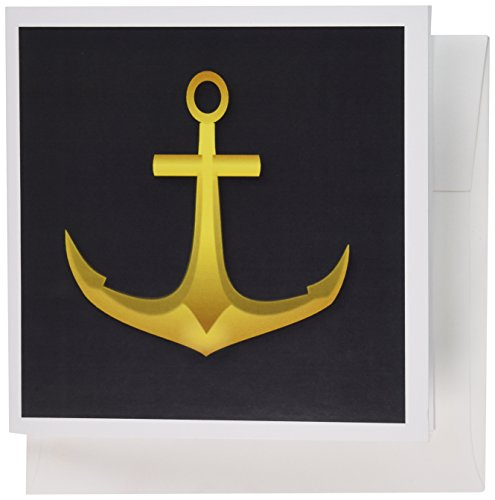 Price comparison product image 3dRose image of elegant gold anchor on black - Greeting Cards, 6 x 6 inches, set of 12 (gc_179485_2)