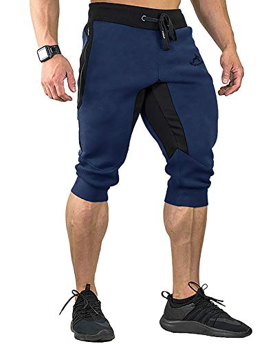 FASKUNOIE Joggers Pants Three Quarter Capri Pants Cotton Breathable 3/4 Long Shorts Jogging ()