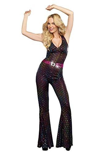 Dreamgirl Women's Disco Doll Costume, Black,