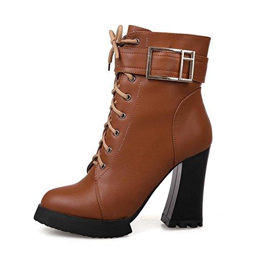 Similpelle Spillo Donna Scarpe Grosso marrone tacchi Brown Stivali Da stivali yc Combattimento A Tacco In L All'aperto q74wnAY5xw
