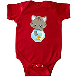 inktastic - Kitty and The Fish Bowl, Cute Infant Creeper Newborn Red 35a84