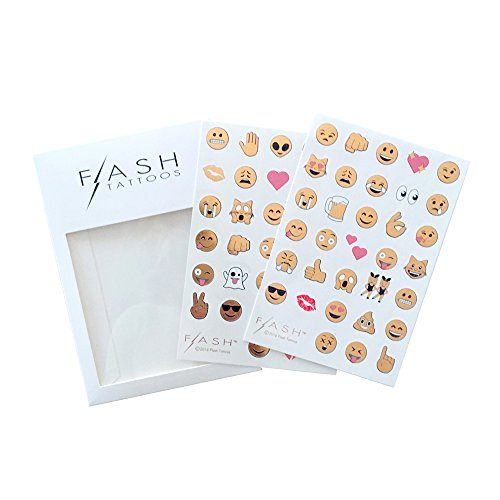 Flash Tattoos Emoji Authentic Metallic Temporary Tattoos-Includes 66 Tattoos