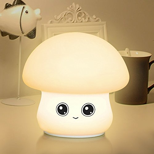 PC&JSN Night Light for Baby Kids Lovely Mushroom Shape Multi colors changing by Touch Sensor for Children Bedroom (style 1)