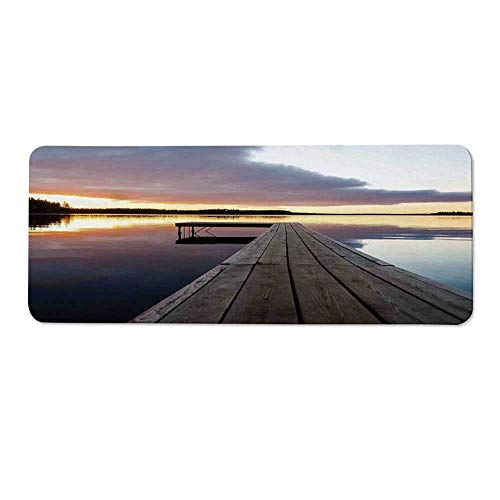 YOLIYANA Art Durable Long Door Mat,View of Sunset Over an Old Oak Deck Pier and Calm Water of The Lake Horizon Serenity for Home Office,One Size