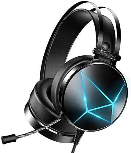 PeohZarr Gaming Headset with Microphone, Xbox One Headset with LED Lights, PS4 Headset with Mic, PS5 Headset with Soft Earmuffs, PC Gaming Headset with Noise Cancelling Microphone
