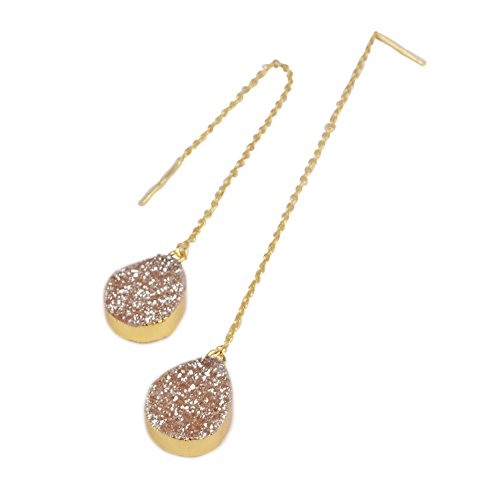 ZENGORI Gold Plated Teardrop Titanium Champagne Druzy Ear Threader Dangle Earrings 3.5