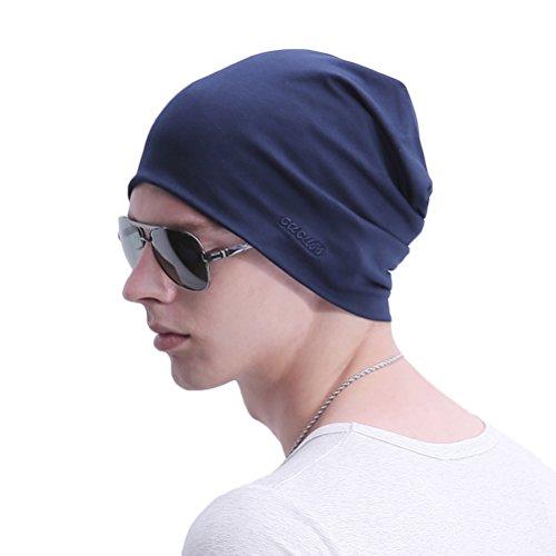 Stretch Beanie Cotton (CACUSS Baggy Skull Cap Thin Cotton Stretch Beanie Summer Sprort Hat (Z0163_Navy))