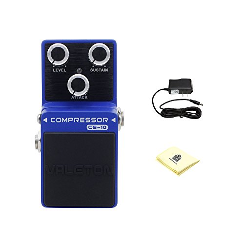 Valeton Loft CS-10 Compressor Guitar Effects Pedal with Power Supply and Zorro Sounds Custom Designed Instrument Cloth by Valeton