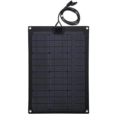 Lensun 12V Black Fiberglass Semi-Flexible Monocrystalline Solar Panel for 12V Charge Battery on Boats, Caravans, Motorhomes, Yachts, RVs