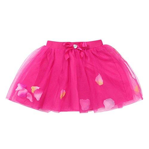 Price comparison product image OWMEOT Girls' Dress-up Layered Ballerina Princess Tutu Skirt (Hot Pink,  120)