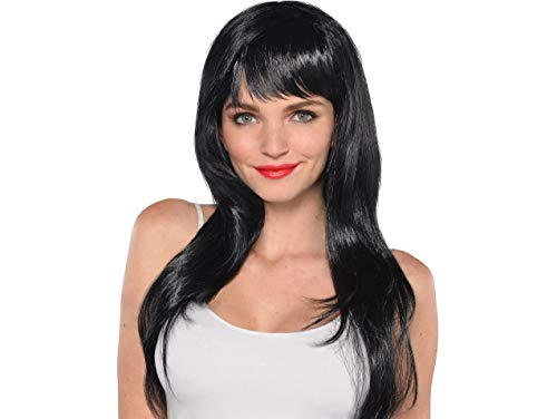 (Amscan 397285.10 Perfect Team Spirit Glam Long Wig Accessory, Black, One Size Party Supplies)