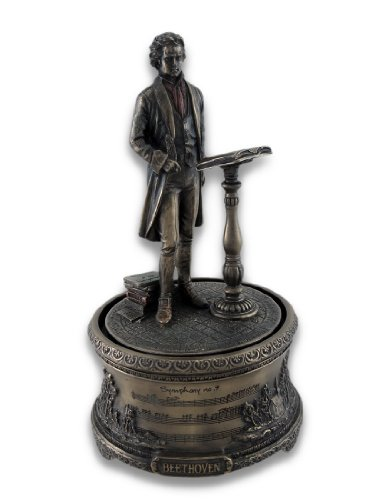 Resin Decorative Music Boxes Bronzed Music Box Symphony No. 9 Beethoven 4.25 X 7.75 X 4.25 Inches Bronze