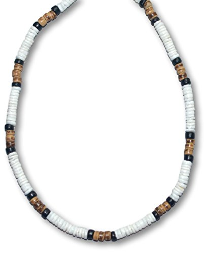Native Treasure Mens 17 inch 5mm White Heishe Puka Shell Black and Tiger Coco Surfer Necklace - 5mm (3/16)