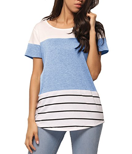 GADEWAKE Womens Summer Striped Color Block Casual T Shirts Short Sleeve Blouses Tops