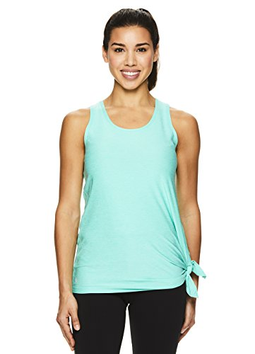 Nicole Miller Active Women's Criss Cross Strappy Racerback Tank Top w/Side Tie Detail - Cockatoo Heather Turquoise, Small (Nicole Spandex Tunic)