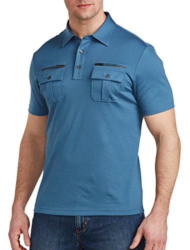 Michael Kors Big and Tall Zippered-Pocket Polo, Shadown Blue - Kors Michael Destination