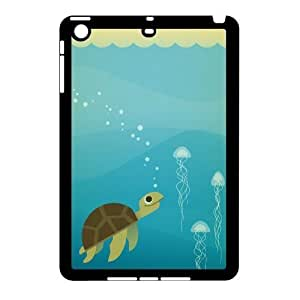 3D iPad Mini 2D Case Sea Turtle Cute Blue, iPad Mini 2D Case Sea Creature Hardshell For Girls, [Black] by ruishername