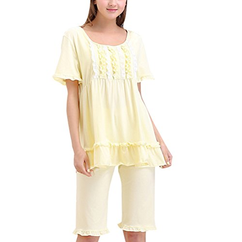 Zhhlaixing Summer Womens Short Sleeve Pajama Set Fashion Two pieces Comfy Sleepwear Yellow