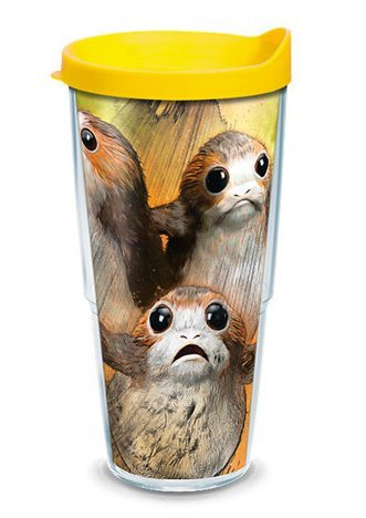 Tervis 1282105 Star Wars - Last Jedi Porgs Tumbler with Wrap and Yellow Lid 24oz, Clear