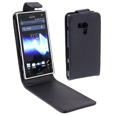 CAIFENG Phone Cover Case Vertical Flip Leather Case for Sony Xperia Acro S / LT26W (Black) Protective Shell (Cover Acro Xperia S)