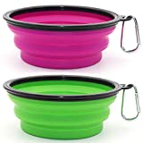SLSON Collapsible Dog Bowl, 2 Pack Collapsible Dog Water Bowls for Cats Dogs, Portable Pet Feeding Watering Dish for Walking Parking Traveling with 2 Carabiners (Large, Large Green+Purple)