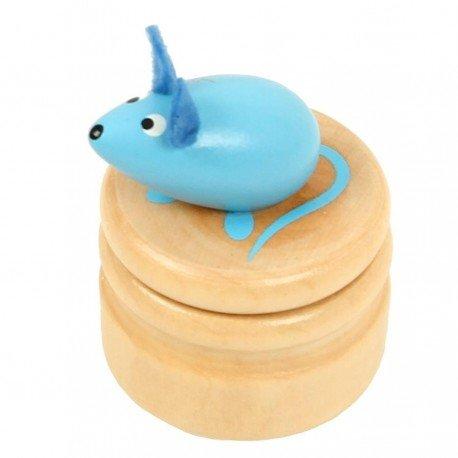 Boite à dents de lait souris bleu boîte en bois couvercle à visser enfant 5 ans Ulysse