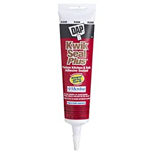Dap 18546 Kwik Seal Plus Kitchen and Bath All-Purpose Adhesive Caulk Clear, 5.5-Ounce