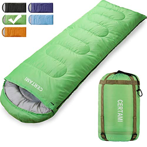 Sleeping Bag for Adults, Girls & Boys, Lightweight Waterproof Compact, Great for 4 Season Warm & Cold Weather, Perfect for Outdoor Backpacking, Camping, Hiking. (Green/Right Zip)
