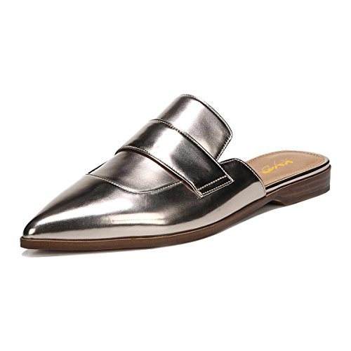 visit online Inexpensive cheap price XYD Womens Retro Backless Slip On Loafers Flat Pointed Toe Mule Slipper Shoes Silver-patent LWM8N0