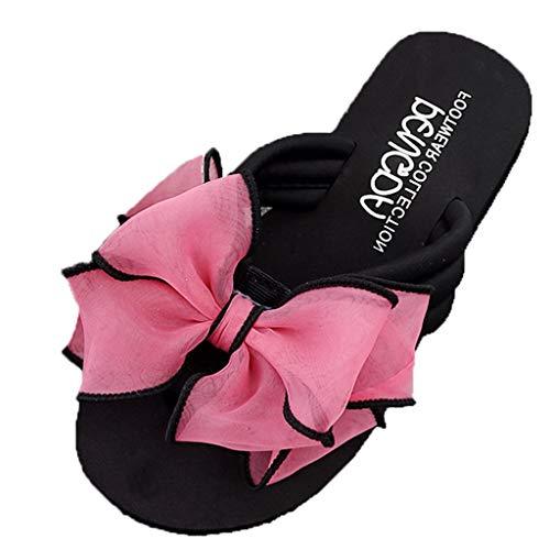 Duseedik Summer Slippers Fashion Women's Bow Wedges Flip Flops Non-Slip Clip Toe Beach Sandals