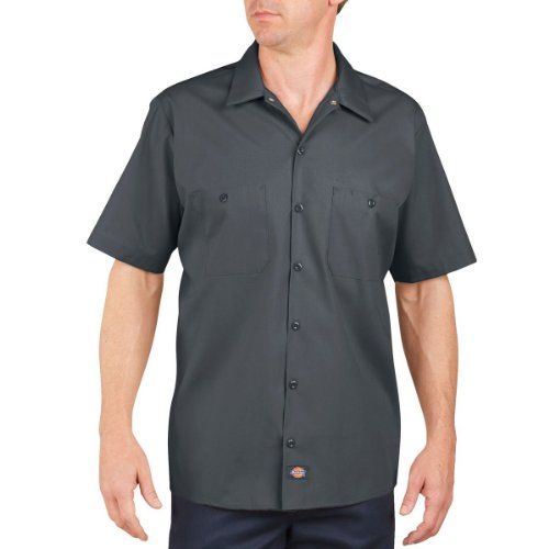 Dickies Occupational Workwear LS535CH Polyester/ Cotton Men's Short Sleeve Industrial Work Shirt, Dark Charcoal