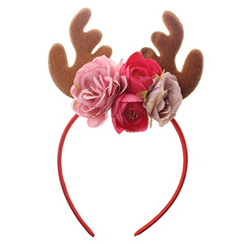 Tinksky Funny Christmas Deer Antler Headband With Flowers Blossom Novelty Party Hair Band Headware Christmas Birthday Gift For Baby Kids - Themed Christmas Bridal Shower