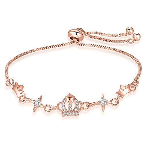 3UMeter Crown Crystal Station Women Bracelet Adjustable Alloy Sliding Bolo Rose Gold Bracelet for Girls]()