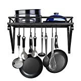SPACEREST Pack of 2, 17-Inch Kitchen Wall Mounted Pot Pan Rack-Decorative Cookware Wall Storage Shelf With 12 Hooks, Matte Black