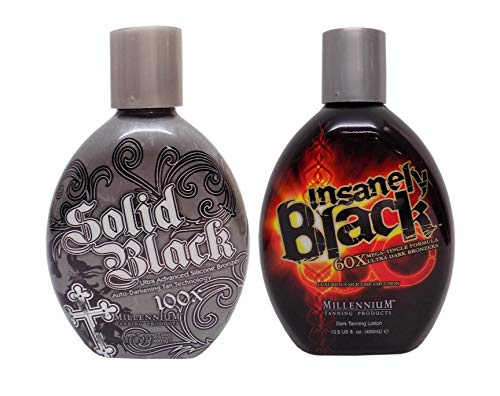 Millennium Tanning Indoor Tanning Bed Lotion, Insanely Black and Solid Black, 13.5 Ounce