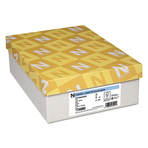 - Neenah Paper 1744000 Classic Crest #10 Envelope, 4 1/8 x 9 1/2, Solar White (Box of 500)
