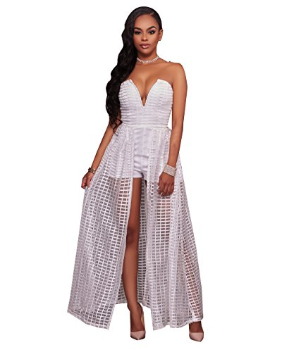 Women Sexy Off Shoulder Mesh Plaid Clubwear Maxi Dress Overlay Rompers Jumpsuit